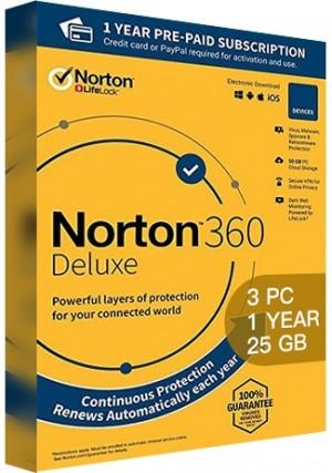 Norton 360 Deluxe - 3 PCs/1 Year/25GB Cloud Storage