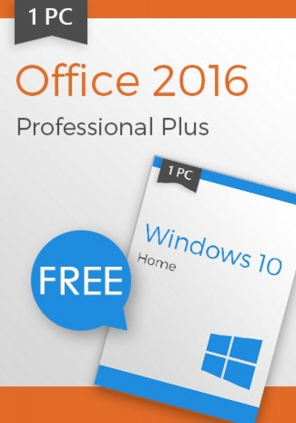 Microsoft Windows 10 Home + Office 2016 Pro - Package