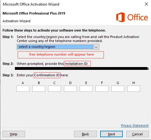 activate office by phone id