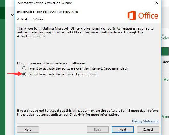 office 2016 phone activation